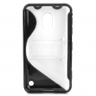 Protective S Style TPU Back Case for Nokia 620 - Black + Transparent