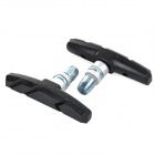 Replacement Bike Bicycle Brake Rubber Blocks Pads - Black + Silver (2 PCS)
