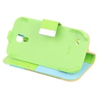 Protective PU Leather Case for Samsung S4 Mini i9190 - Green + Brown