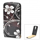 Flower Pattern Protective Top Flip Open PU Leather Case for LG G2 - Black + White