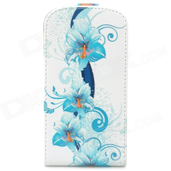 Protective Top Flip Open Flower Pattern PU Leather Case for Samsung i8730 - Blue + White protective plastic bumper frame for samsung n7100 pink
