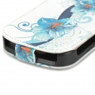 Protective Top Flip Open Flower Pattern PU Leather Case for Samsung i8730 - Blue + White