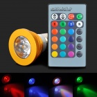 E27 3W LED RGB Adjustable Spotlight Bulb w/ Remote Controller - Golden (85~265V)