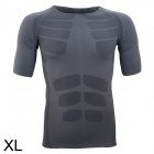 ARSUXEO Sports Running Exercise Short-Sleeve Slim Fit T-Shirt - Grey (Size XL)