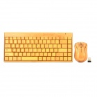 SUNSGROUP 002 Wireless 88-Key Bamboo Keyboard Mouse Set - Bamboo