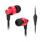 OVLENG iP640 In-Earphone Earphone w/ Microphone - Black + Deep Pink