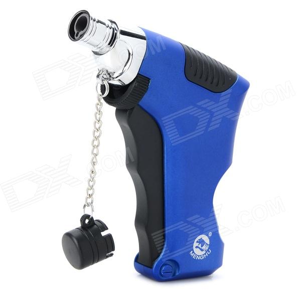 Windproof Zinc Alloy + Plastic 1300'C Blue Flame Butane Jet Lighter - Blue + Silver + Black