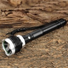 220lm 5-Mode White Zooming Flashlight w/ Cree XM-L T6 - Black + Silver (1~2 x 18650 or 3 / 6 x AAA)