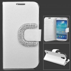Fashion Crystal C Buckle PU Leather Case for Samsung Galaxy S4 i9500 - White