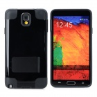 Protective TPU + PU Case w/ Holder for Samsung Galaxy Note 3 N9000 - Black