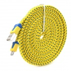 Micro USB Flat Charging / Data Cable for Samsung / HTC / LG / Nokia + More - Yellow + Blue (300cm)
