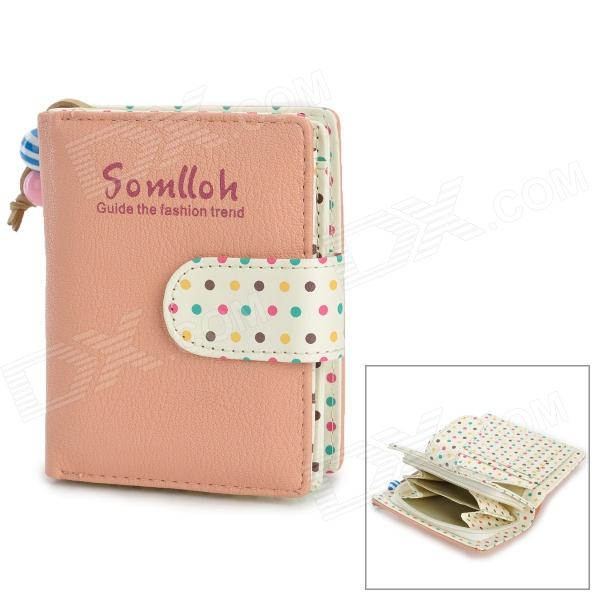 Dot Style Women's PU Leather Wallet - Pink