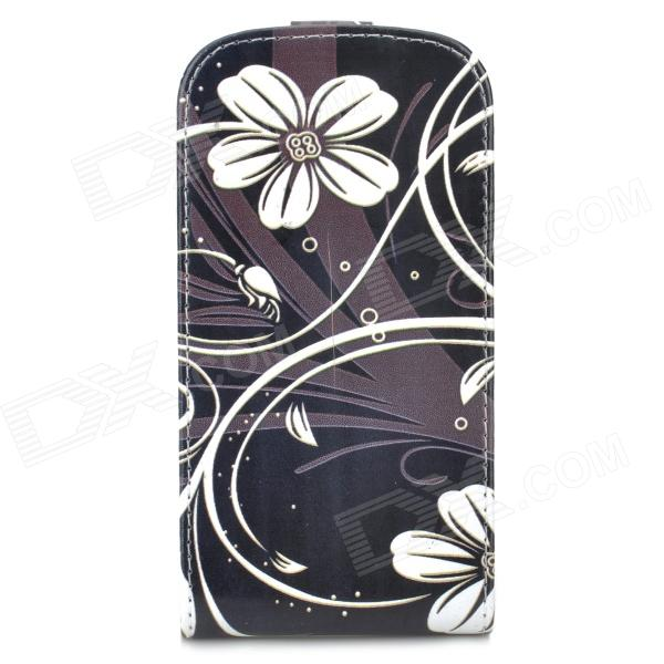 Protective Flower Pattern PU Leather Case for Samsung Galaxy Express i8730 - Black + White protective frosted abs back case for samsung galaxy express i8730 white