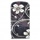Protective Flower Pattern PU Leather Case for Samsung Galaxy Express i8730 - Black + White