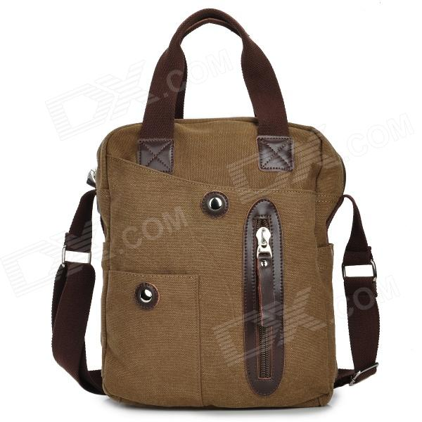 где купить MLF 1018 Casual Men's Canvas Shoulder Bag w/ Strap - Coffee дешево