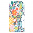 Protective Top Flip Open Flower Pattern PU Leather Case for Samsung Galaxy S3 - Multicolored