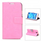 Protective Flip Open PU Leather Case w/ Stand / Card Slots for Samsung Galaxy S4 / i9500 - Pink
