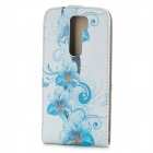 Flower Pattern Protective Top Flip Open PU Leather Case for LG G2 - Blue + White