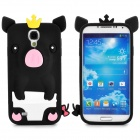 Cute Pig Style Protective Silicone Back Case for Samsung i9500 - Black + Yellow + Pink + White