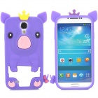 Cute Pig Style Silicone Back Case for Samsung Galaxy S4 i9500 - Purple + Yellow + Pink + White