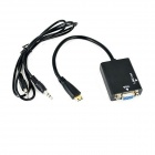 Ourspop OU111 Mini HDMI Male to VGA Female Converter Adapter with 3.5mm Audio - Black