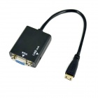 Ourspop OU111 Mini HDMI macho a VGA adaptador convertidor Mujer con audio de 3.5mm - Negro