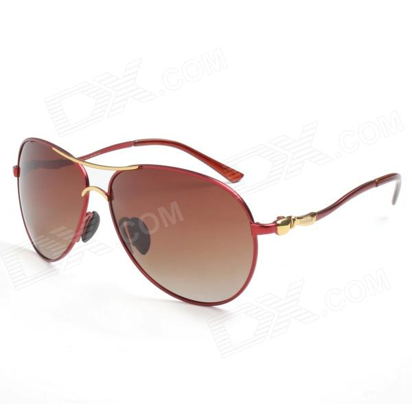 Reedoon 1328 Unisex Outdoor Sports UV 400 Protection Polarized Sunglasses - Red + Brown reedoon 1417 trend of the goddess hip hop sunshade sunglasses black golden
