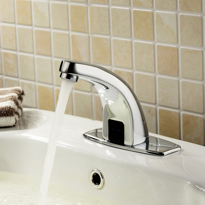 YDL-F-0511 Contemporary Automatic Sensor Bathroom Sink Faucet with Escutcheon Plate - Silver