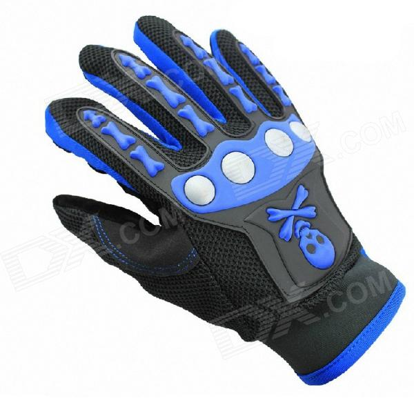 Cool Skeleton Style Motorcycle Riding Gloves - Deep Blue (Pair / Size-XL)