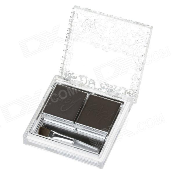 B36-06 Makeup 2-Color Eyebrow Powder - Deep Brown + Light Brown