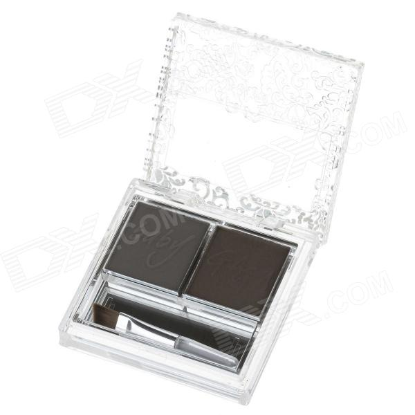 B36-03 Makeup 2-Color Eyebrow Powder - Deep Brown + Light Brown