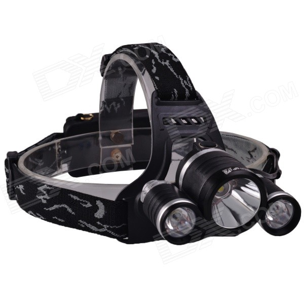 SingFire SF-555 1800lm 4-Mode White Headlamp - Black + Silver (2 x 18650 battery) 600lm 3 mode white bicycle headlamp w cree xm l t6 black silver 4 x 18650
