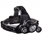 SingFire SF-555 3 x Cree XM-L T6 1800lm 4-Mode White Headlamp - Black + Silver (2 x 18650 battery)