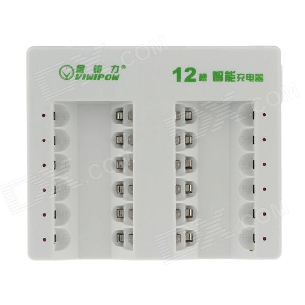 VIWIPOW VIP-012 Smart 12-Slot AA / AAA Ni-MH / Ni-Cd Battery Rechargeable Charger - White (US Plug)