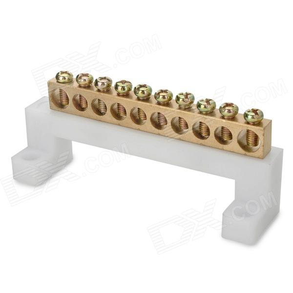 Jtron Zero Line Row / Ground Row / Copper Grounding Strip 10 Terminal Blocks - Copper - DXDIY Parts &amp; Components<br>Copper strips: length 8.8cm width 0.8cm height 1.2cm screws M5; Terminal block dimensions: length 10.3cm width 2.5cm height 3.9cm 0.7cm across the middle 8 hole big hole 0.8cm<br>