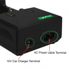 SingFire US-UC2 Dual-Slot Intelligent Universal Battery Charger w/ USB, Car Charger -Black (EU Plug)