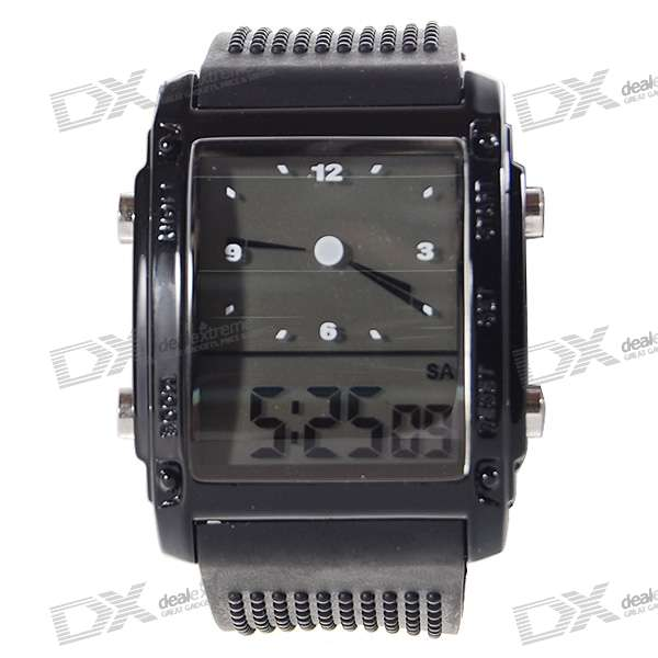 Digital + Analog Dual-tiden Mens armbandsur med veckodag Display - svart (2 * CR1120)