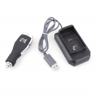e-J YX-01 2-in-1 Xbox 360 Wireless Handle Car Charger + USB Charger Base Set - Black + Silver