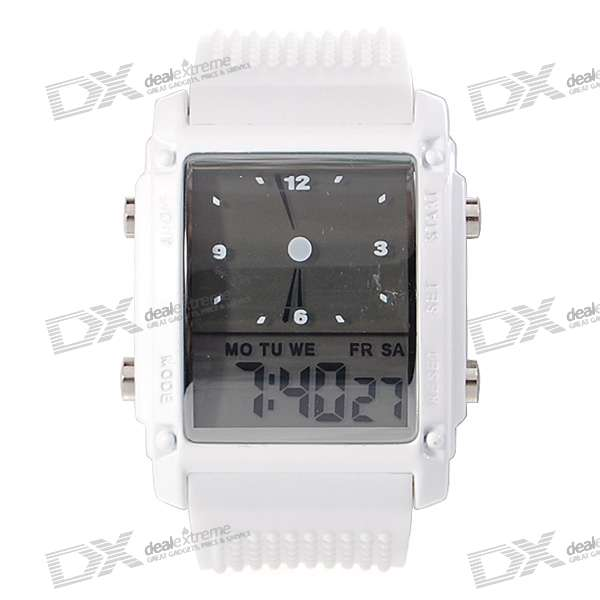 Digital + Analog Dual-Time Mens Wrist Watch with Weekday Display - White (2*CR1120)