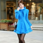 Stylish Fur Collar Artificial Woolen Women's Coat - Blue (Size-L)