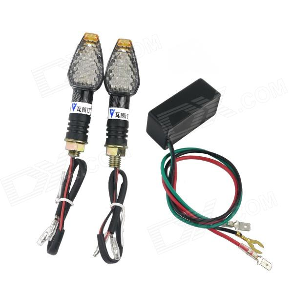 WaLangTing 0.5W 60lm 580nm 4-LED Snakeskin Texture Yellow Light Cornering Lamp + Flash Relay Set 2pcs cf18 kt led flasher 8 pin adjustable relay module fix auto car signal error flashing blinker 81980 50030 06650 4650 150w