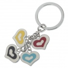 Cute Love Heart Style Stainless Steel Keychain - Red + Blue + Black + Silver + White + Yellow(2 PCS)