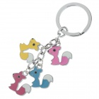 Cute Squirrel Style Stainless Steel Keychain - Red + Yellow + Blue + Pink + Silver (2 PCS)