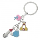 Cute Carton Stainless Steel Keychain - Silver + Yellow + Pink + Blue (2 PCS)