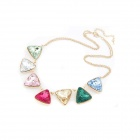 Magnificent Triangle Strass Damen Halskette - Bunt
