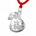 eQute PSIW15 Fashionable S999 Sterling Silver Lucky Bag Pendant w/ Adjustable Red Rope - Silver
