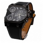 Oulm HP9315B Men's Fashion Big Dial PU Band Quartz Wrist Watch - Black