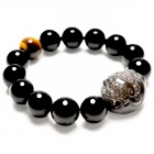 eQute BGEM2WS12 Natural 12mm Tiger Eye Stone Obsidian Lucky Round Pixiu Bracelet - Black