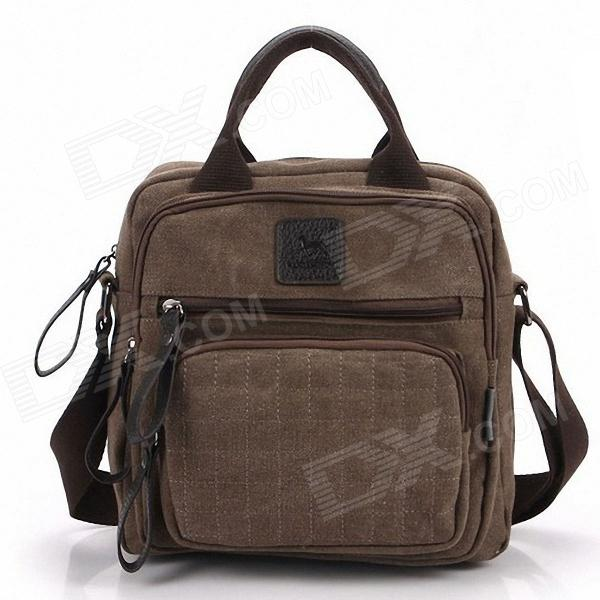 Manjianghong Fashionable Men's Canvas Aslant Multi-purpose Messenger Bag - Brown