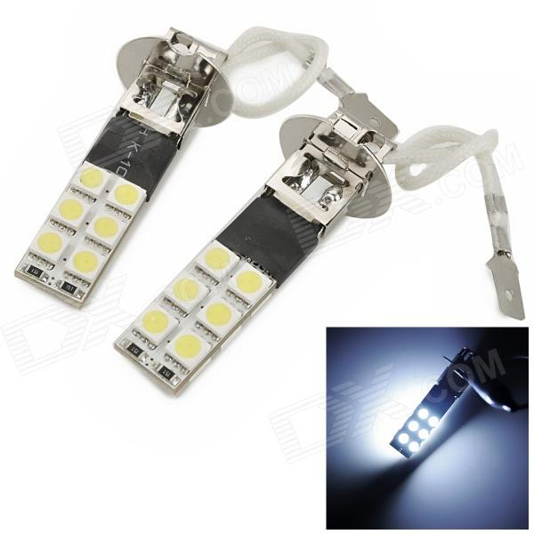 exLED H3 4.8W 144lm 12-SMD 5050 LED Cool White Light Car Backup / Foglight - (12V / Pair) highlight h3 12w 600lm 4 smd 7060 led white light car headlamp foglight dc 12v